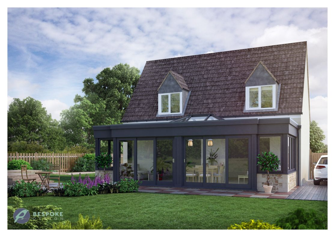 Modern Orangery Brooks exterior Grey Posts